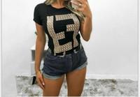 f alfabeto venda por atacado-Mangas curtas feminino impressão F alfabeto confortável em torno do pescoço camisa de manga curta 2 cores preto, branco