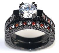 conjuntos de anillo de diamante negro vintage al por mayor-Anillo de diamante natural de la vendimia Anillo de zafiro blanco CZ Joyería 14kt Anillo de compromiso de oro negro lleno 5-12