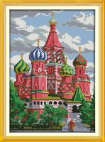 Wholesale set castle canvas prints for sale - Group buy Red castle Scenic Russia style home decor painting Handmade Cross Stitch Embroidery Needlework sets counted print on canvas DMC CT CT