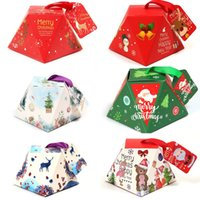 Wholesale christmas paper bells resale online - DIY Christmas Candy Box Merry Christmas Gift Paper Box Bell Christmas Tree Red Green Box Xmas Candy Cookies Wrap Boxes
