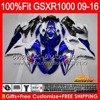 gsxr yeni kaplamalar toptan satış-SUZUKI GSXR1000 Için Enjeksiyon 2009 2010 2011 2011 2012 2014 2015 2016 16HC.1 GSXR-1000 stok mavi yeni K9 GSXR 1000 09 10 11 12 13 15 16 Kaplama