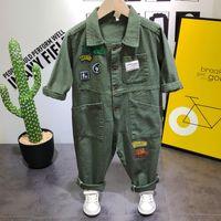 traje de ejército de niños al por mayor-Moda moda otoño bebé niños ropa casual ejército verde mono mameluco pantalones de carga 1 trajes niños niños ropa conjuntos