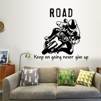 Wholesale quotable wallpapers for sale - Group buy Cool Motorcycle Silhouette Wall Stickers Boy Bedroom Background Decorative Wallpapers Waterproof Can Be Removable Self adhesive Arts Sticker