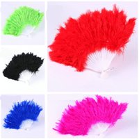 Wholesale elegant fancy folding hand fans resale online - Fluffy Feather Fan Dance Fancy Elegant Props Dress Wedding Costume Dance Hand Folding Fans Halloween Phantom Party Festive Craft Supply
