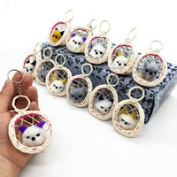 Wholesale birds rings resale online - Colorful Cat Key Buckle Plush Lovely Simulation Bird Cage Keys Ring Mini Decoration Chain Hot Selling sr L1