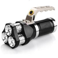 batería led spotlight al por mayor-Reflector LED para exteriores Linterna recargable USB 3LED Linterna táctica Proyector de caza Luz de caza con cargador de batería