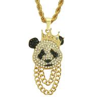 pandas de diamante al por mayor-Hip Hop Wind Necklace Trendy Diamond Cartoon Pattern Fashion Panda Colgante Collar Hombres Hip Hop Rap Accesorios
