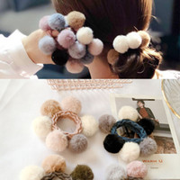 Wholesale ponytail korean women resale online - Korean Pompom Hair Rope Ties Winter Cute Ponytail Holder Elastic Hair Rubber Bands Accessories for Women Girls Hairpins Hairband