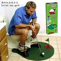 töpfchen putter wc golf spiel großhandel-Potty Putter Toilette Golf Toilette Golf, Potty Putter Set Badezimmer Spiel Mini Putting Neuheit Set, Golf spielen auf der Toilette