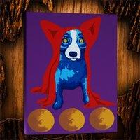 yağlı boya alanı toptan satış-Mavi Köpek Space Traveller, 1 Parça Tuval Baskılar Duvar Sanatı Yağlıboya Ev Dekor (Çerçevesiz / Çerçeveli) 24X32.