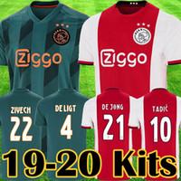 maillots de football jeunesse orange achat en gros de-Maillots de football 2019 2020 de l'Ajax FC maillots de football à Ajax Maillots 2019 kit de football TADIC ZIYECH DE JONG Enfants Football junior Uniformes