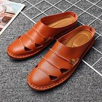 с закрытыми пальцами оптовых-Высококачественные мужские полутапочки черные белые синие коричневые туфли на плоской подошве на плоской подошве для мужчин