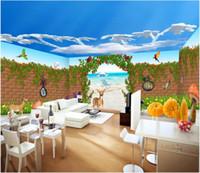 Wholesale house painting art resale online - 3d wallpaper custom photo mural Seaside children s garden full house wall wall art canvas painting landscape wall tapestry d
