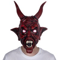 masque en latex rouge achat en gros de-Masque Effrayant Costume adulte Corne Horreur Halloween Party cosplay latex effrayant Horns Red Devil Mask Pour Party cosplay