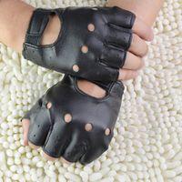 erkekler parmaksız sürme eldivenleri toptan satış-1 Pair Moda Satış Sentetik Deri Siyah Sürüş Motosiklet / Bisiklet Parmaksız Eldiven Erkek Kadın Yarım Parmak Eldiven