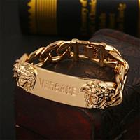 tête de jonc pour homme achat en gros de-Bracelet de style Hip Hop avec logo Logo High Street Bracelet avec bracelet en alliage de marque Medusa Head Tide