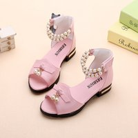 ingrosso pattini di tallone dentellare del bambino-Summer Beading Pink White Baby Girl Shoes Scarpe in pelle di perle Girl Princess Dancing The Party With Heeled Kids
