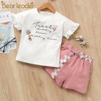 las niñas fijan la correa al por mayor-Trajes de niñas 2pcs Conjuntos de ropa Chica Flor Camisetas estampadas + Trajes de pantalones cortos Con cinturón de encaje ropa de diseñador bebé chándal niños boutique de ropa