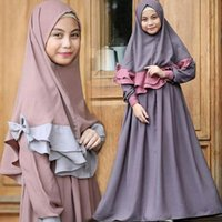 Wholesale muslim girls gown resale online - 2pcs set Girl Muslin Gown Long Sleeve Muslim Spring Autumn Pink Dresses Party Wear Clothing Headscarf Set Kids Girls Dress Colors