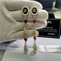 Wholesale pearls crystal shell for sale - Group buy New designer high end Brand Classic Crystal Letter Stud Earrings Fashion Jewelry For Women Statement Imitation Pearl Earrings Jewelry