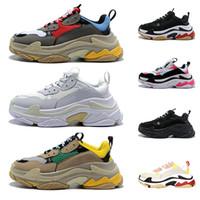 botas de suelas al por mayor-Balenciaga Triple S Zapatillas Old Dad 2019 Multi Luxury Triple S de diseño bajas Combinación Suelas Botas Hombres de Moda Casual Zapatos Alta Calidad Talla 36-45