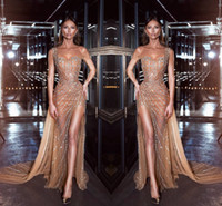 Wholesale new formal evening gowns for sale - Group buy Dark Champagne Sexy One Shoulder Mermaid Formal Evening Dresses New Sparkly Sequins Crystals Side Split Prom Gowns Pageant Dress
