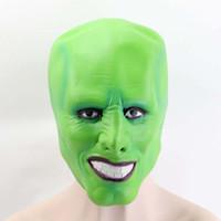 maquiagem rosto verde venda por atacado-Filme O Máscara Máscaras Jim Carrey Máscaras Cosplay Adulto Latex Verde Full Face Maquiagem Halloween Masquerade partido Desempenho Props traje
