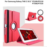 Wholesale red inch tablet bundle for sale - Group buy 360 Rotating Tablet Cases For Samsung Galaxy Tab inch P5100 P5110 P7500 P7510 Litchi Pattern PU Leather Stand Protective Cover