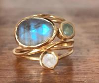 piedra de luna amarilla al por mayor-Nuevo chapado en oro amarillo de 24 k con incrustaciones de piedra de luna colorida anillo belleza europea creativo de múltiples capas anillo de la cáscara de las damas anillo de compromiso de boda