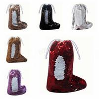 calcetines decorados al por mayor-Lentejuelas calcetín de Navidad sirena calcetines calcetines bolsas de regalo decoradas calcetín de Navidad colgante Santa Claus cordón bolsas de dulces LJJA2848