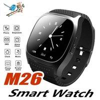 умные часы водонепроницаемые яблоко оптовых-Водонепроницаемые умные часы M26 Bluetooth Smart Watch со светодиодным пассометром Музыкальный плеер Шагомер для Apple IOS Android Smart Phone