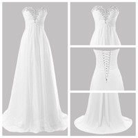 Wholesale rhinestone back wedding dress resale online - Charming V Neck Wedding Dress Bridal Gown Court Train Sweetheart Rhinestone A Line Floor Length Chiffon Wedding Dress with Zipper Up Back