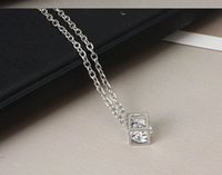 Wholesale geometric necklaces for sale - Silver Necklace Zircon Three dimensional Square Pendant Necklacce For Women Luxury Jewelry Collier Geometric Cubes Chokers Necklaces