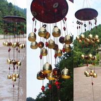avlu malları toptan satış-Çevre Dostu Yard Bahçe Dekorasyon Açık Windchimes Windbell Maskot Hediyeler için 18 Bells Bakır Rüzgar Çanları Feng Shui Ürünler