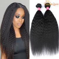Wholesale italian hair colors resale online - Peruvian Kinky Straight Virgin Hair A Peruvian Coarse Yaki Peruvian Human Hair Weave Bundles Italian Yaki Straight