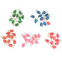 ювелирное качество сплава оптовых-10Pcs/lot Zinc Alloy Drop Oil Leaves Shape Charms Pendant For DIY Jewelry Earrings Accessories High Quality