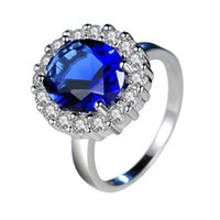 Wholesale blue diamond rings jewelry for sale - Group buy New Designer Jewelry Women Rings Blue Stone CZ Diamond Wedding Gift Platinum Plated Beautiful Ring Hot Sold