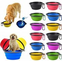 Wholesale feed pets resale online - Collapsible Pet Feeding Bowl Travel Dog Cat Foldable Pop Up Compact Travel Silicone Dish Feeder Food Container Food Container OOA6206
