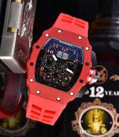 Wholesale inlaid diamond watch resale online - Luxury Skeleton Skull sport Watches diamond All Dial Work Quartz Watches Fashion dial inlaid drill Mens Quartz Richard Watches