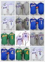 leere grüne t-shirts großhandel-Cheap Mets Jerseys Blank / 1 # WILSON / 4 # Dykstra / 5 # Wright Weiß Grau Grün Blau Baseball T-Shirts Shirt Genäht Hochwertig!