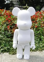 Wholesale white bear toys resale online - 400 Bearbrick Bear brick Diy Paint Pvc Action Figure White Color Collection With Opp Bag Children Gift Ag108 Y19062901