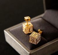 pendientes cuadrados dobles al por mayor-Cuero de lujo de los pendientes cuadrados con Crystayl oro Pendientes de doble lado del perno prisionero de la joyería de partido de las mujeres de calidad superior