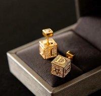 brincos quadrados duplos venda por atacado-Luxo Designer Praça Brincos com Crystayl ouro Double Side brincos jóias por Mulheres do partido Top Quality