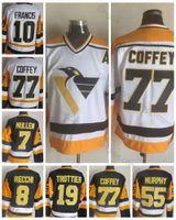 paul coffey jersey venda por atacado-Qualidade superior Vintage Pittsburgh 77 Paul Coffey 10 Ron Francis 8 Marca Recchi 55 Larry Murphy 7 Joe Mullen 19 Camisas De Hóquei De Bryan Trottier