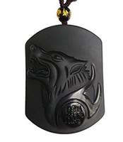 ko großhandel-Reine Hand geschnitzt natürliche echte Obsidian heulender Wolf Kopf Amulett Halskette Anhänger