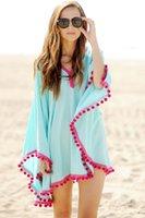 cobertores de biquíni branco venda por atacado-Moda-verão branco de manga curta decote em v de algodão praia Caftans Lace Crochet túnica praia Ups Sexy Kaftan Bikini Swimsuit Cover Up Dress