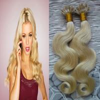 extension de cheveux brésilienne de fusion de kératine achat en gros de-# 613 Eau de Javel Blonde Vierge Brésilienne Corps Vague Pré Collé Kératine fusion Ongles pointe Extensions de Cheveux 100% Vrai Extension de Cheveux HumainsLivraison Gratuite