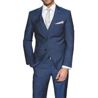 Wholesale mens dark purple wedding suits for sale - Group buy Custom Made Slim Fit Navy Blue Mens Suit for Wedding Groom Wedding Tuxedos Pieces Jacket Pants Vest Formal Party Suit