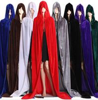 Wholesale purple cape costume resale online - Hot sales Wholesales Halloween Cloak Christmas Costume COS Death Long Cloak Sorcerer Witch Prince Princess Cape Cloak Party Decoration