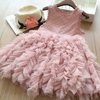 Wholesale wedding dresses 5pcs online - 5pcs Y Baby Girls Princess Dress Lace Cake TuTu Sashes Dress Sleeveless Girl Clothes Kids Birthdays Party Wedding Children Clothes